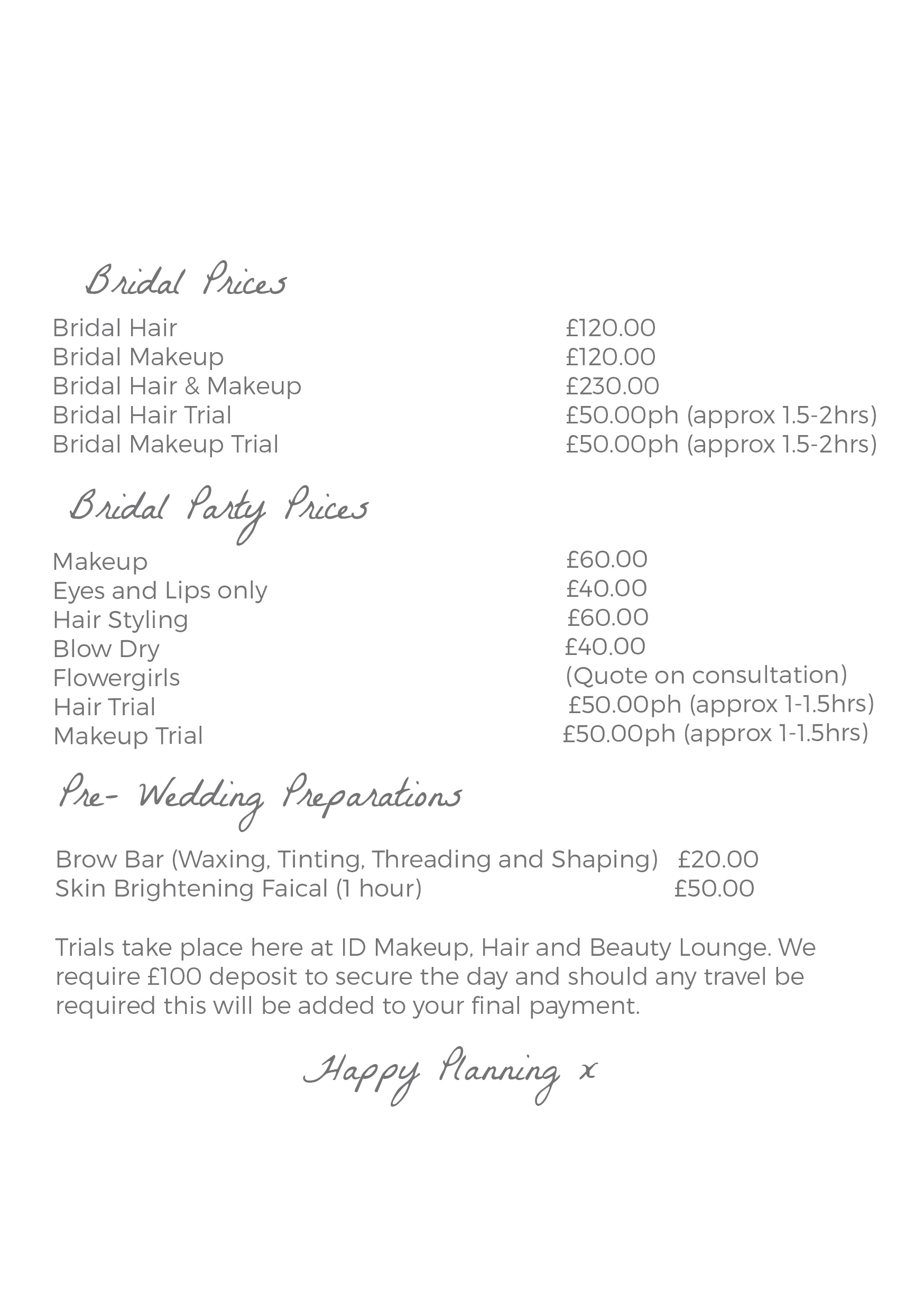 bridal price list web