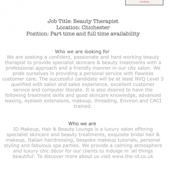A new and exciting Beauty Therapist job opportunity in the City of Chichester